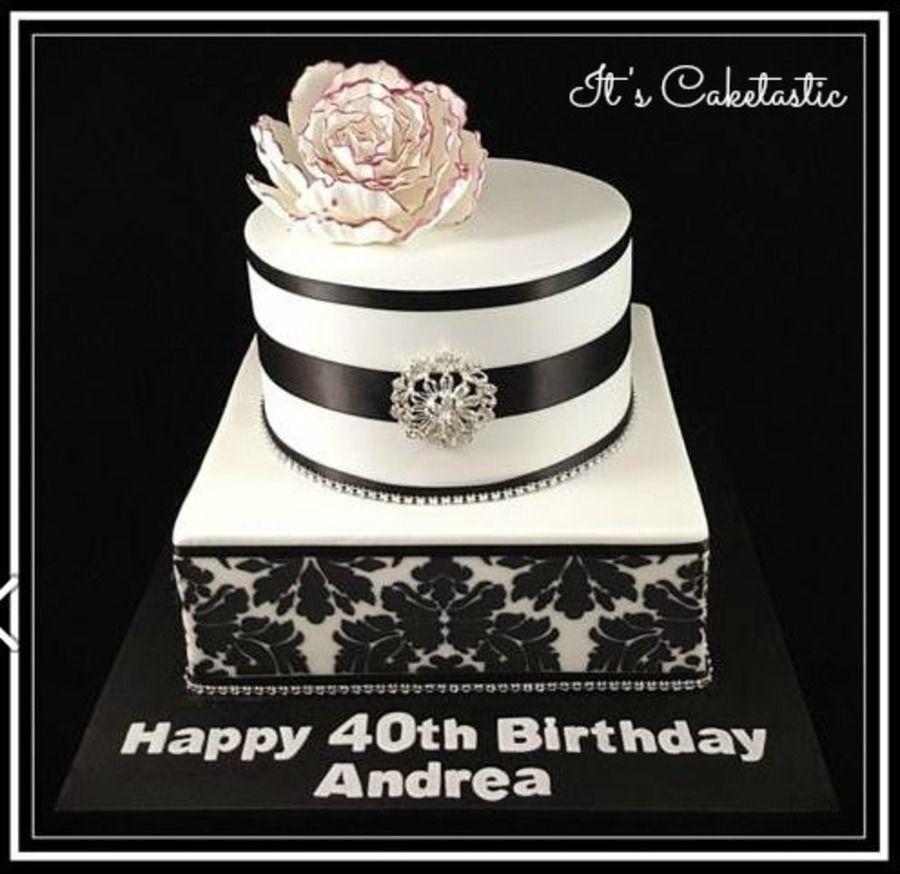 Black And White Damask Birthday Cake