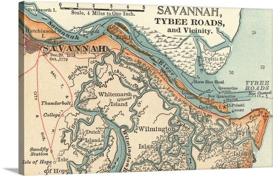 Savannah River Vintage Map Savannah Ga Tybee Island Savannah