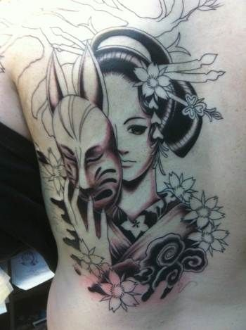 1b166b24d Geisha Girl With Devil Mask Tattoo On Back | Touhou | Geisha tattoo ...