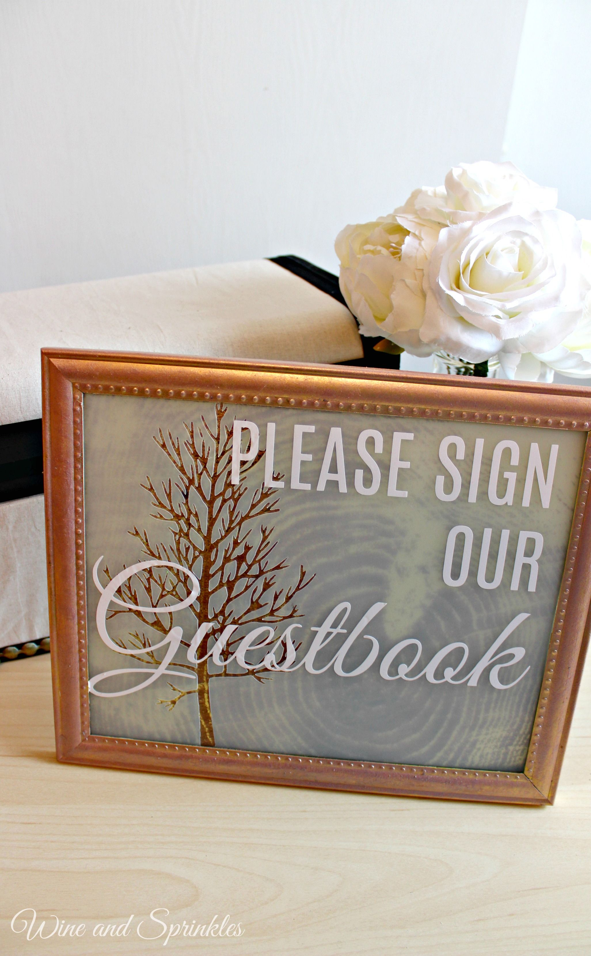 Frosted glass guestbook sign tree slices guestbook and cricut