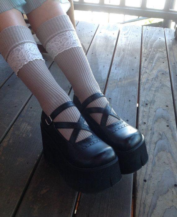 Awesome 90s mega platform Demonia gothic Lolita club kid Mary Janes on Etsy!