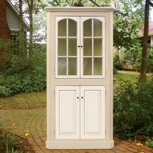 "American Country Home Store - Four Door Corner Cupboard - $889.00 - 73""h x 38""w x 19""d, 26"" from corner to wall.  (See website for sketch that explains dimensions.)"