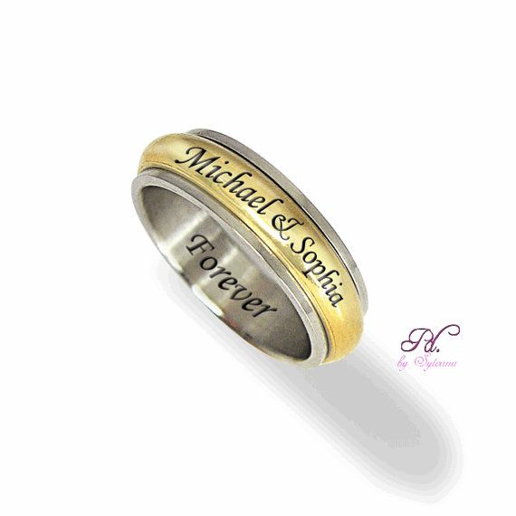 Engraved Stainless Steel gold tone spinner ring for Him Wedding