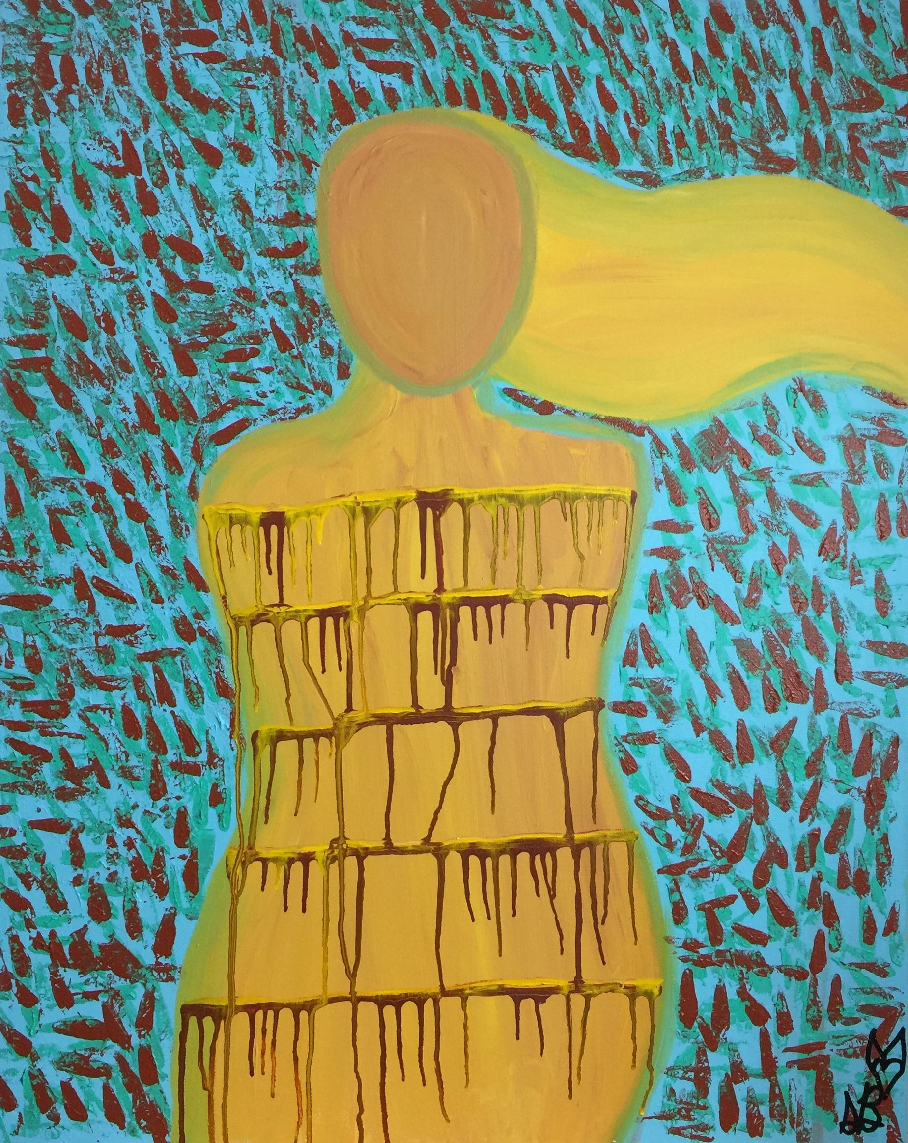 Original Abstract Figurative Painting - Large Wall Art - Drip ...