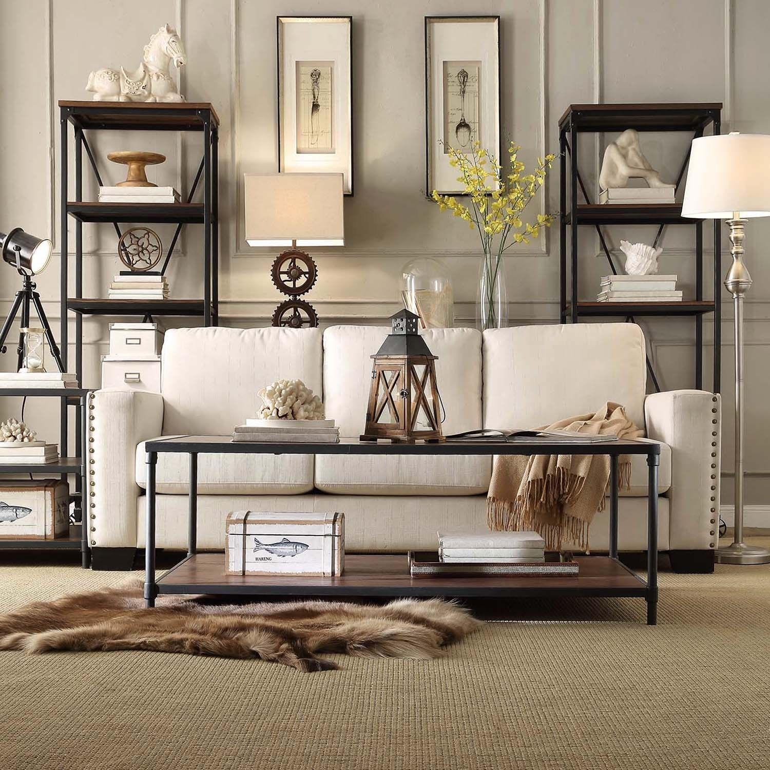 Harrison Industrial Rustic Pipe Frame Accent Coffee Table by iNSPIRE Q  Classic