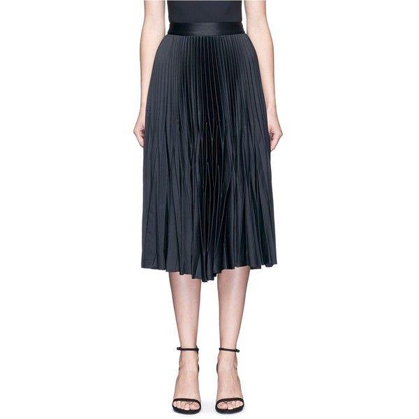 Nicholas Satin pleat midi skirt (£405) ❤ liked on Polyvore featuring skirts, black, accordion skirt, satin skirt, satin midi skirt, mid calf skirts and nicholas skirt