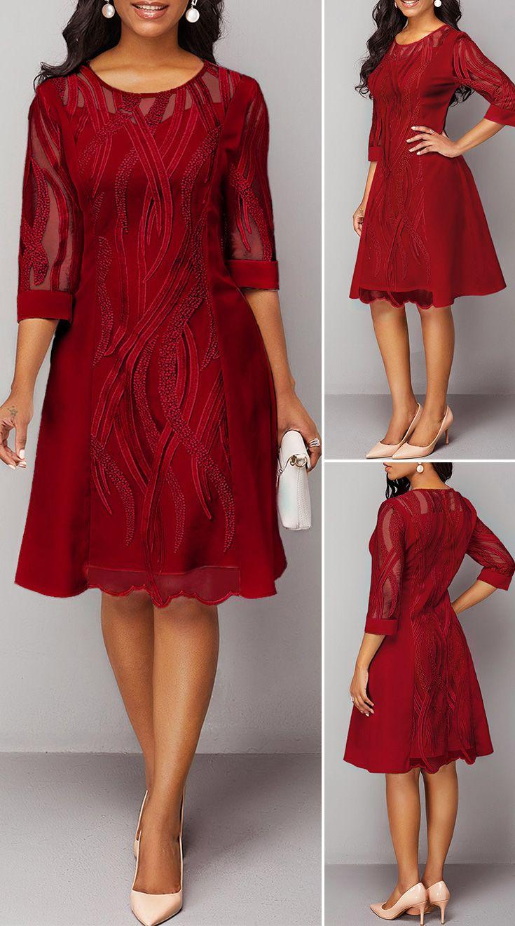 Back Zipper Wine Red Round Neck Lace Dress Vestidos Vestido Vinho Vestido Chique