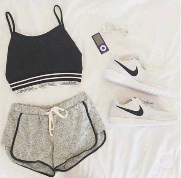 shoes shorts top fashion nike roshe run nike white calvin klein underwear  calvin klein bra style nike running shoes crop tops hat shirt