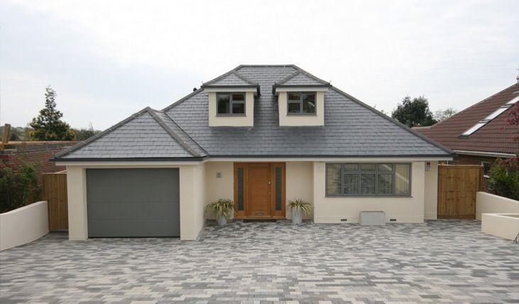 love grey windows and cream render - Windows For Houses Design