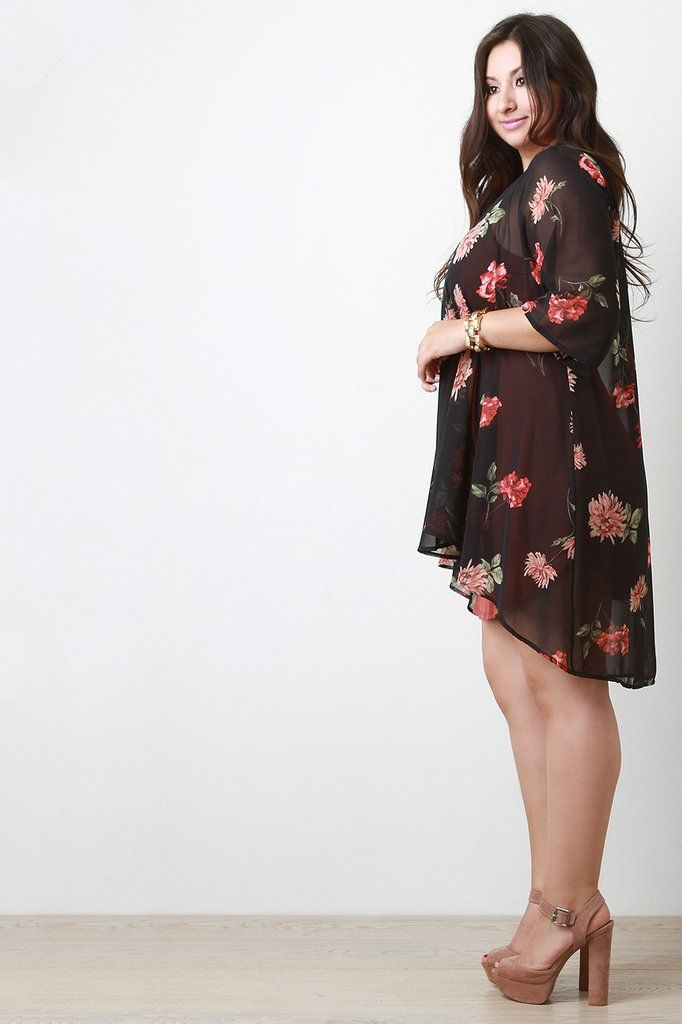 Floral Chiffon Open Front High Low Cardigan | High low, Jackets ...