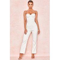 'kaela' ivory satin corset jumpsuit  fashion dresses