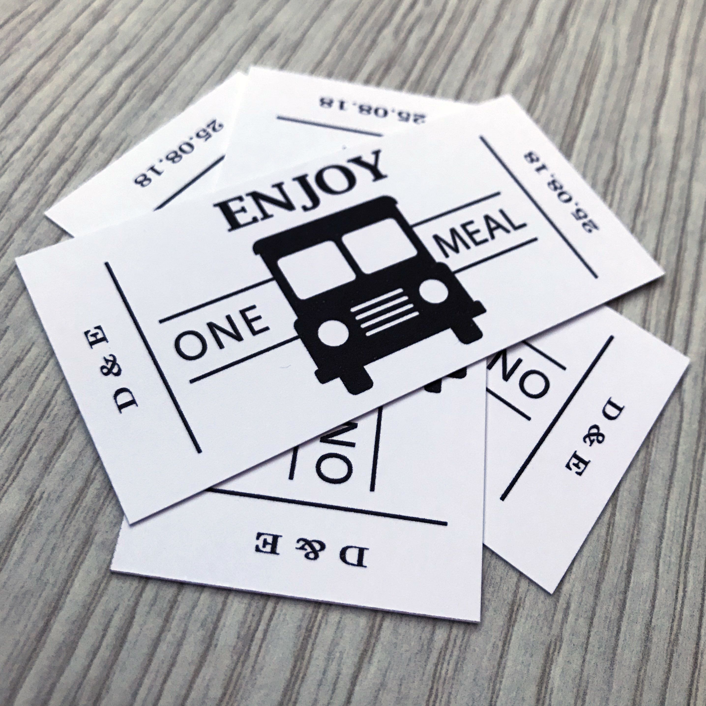 Personalised Wedding Food Truck Tickets Qty 50 White