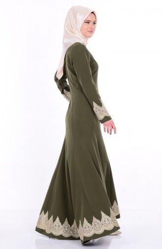 Sefamerve Asimeterik Dantelli Elbise 1773 04 Haki Yesil Hijab Fashion Fashion Dresses
