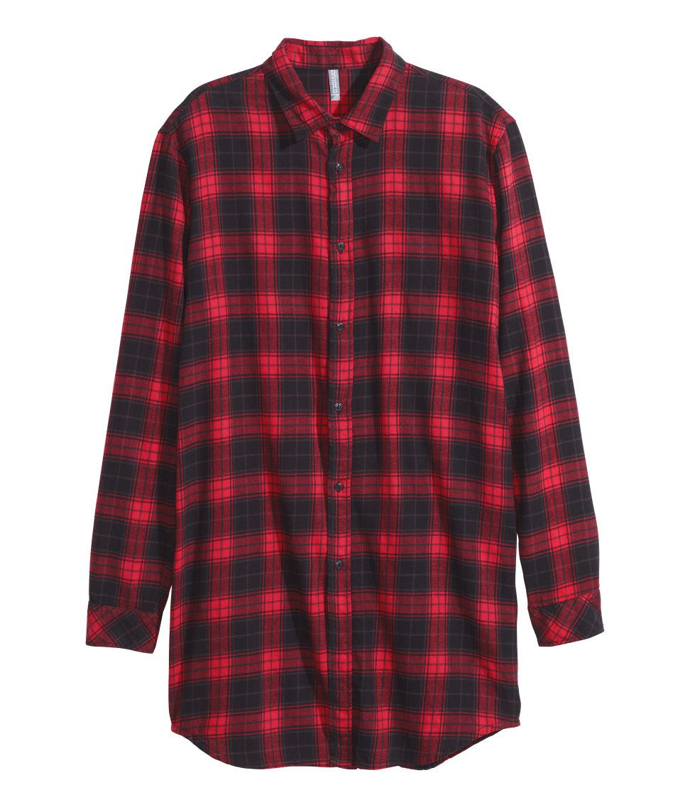 4b14b1c830 Black & red plaid flannel shirt with long sleeves.│ H&M Divided Guys