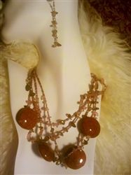 Gorgeous Chunky Pink Beaded Necklace and Earrings Set from www.JacyLord.com