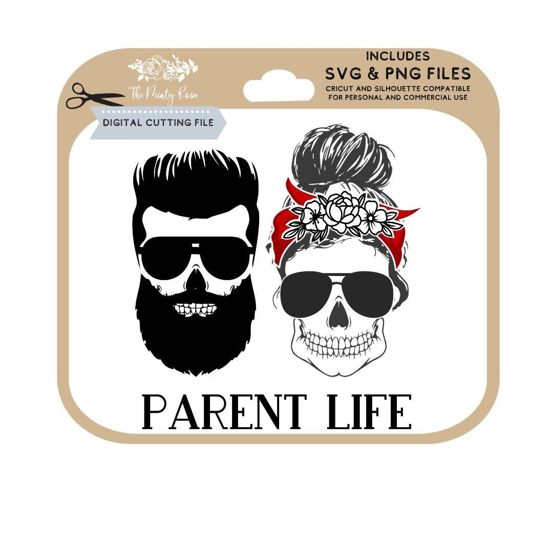 Skull with glasses, Parent life svg, beard, floral