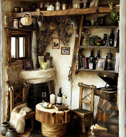 enchanting victorian style kitchen   Cottage style dollhouse scene   Tiny Rooms   Pinterest ...