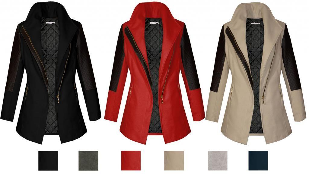 Plaszcz Damski Zimowy Skorzane Rekawy 38 M 4816146046 Oficjalne Archiwum Allegro Fashion Blazer Jackets