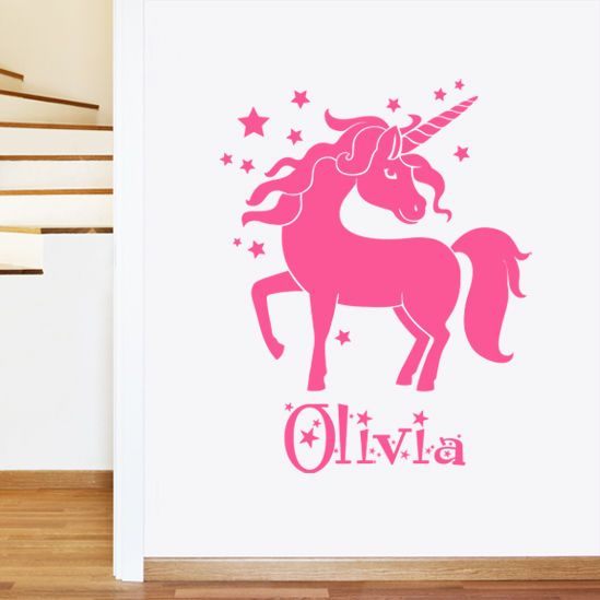 details about personalised unicorn girl s name children s on wall stickers for kids id=51758