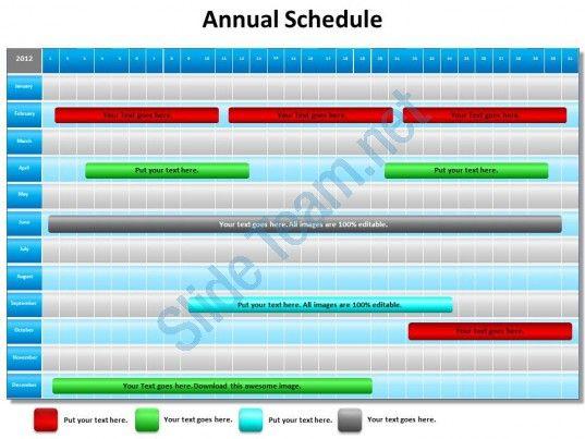 Annual Schedule Shown By Gantt Chart Powerpoint Diagram Templates