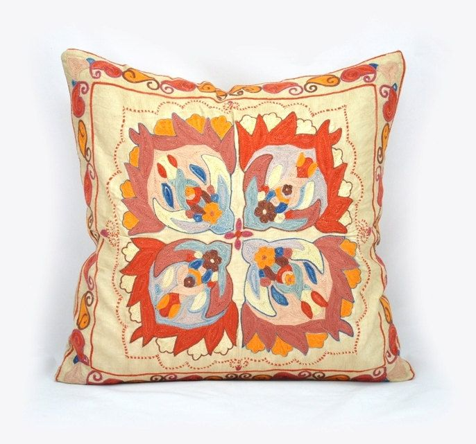 Vintage Suzani Pillow Cover Hand Embroidered Shipping
