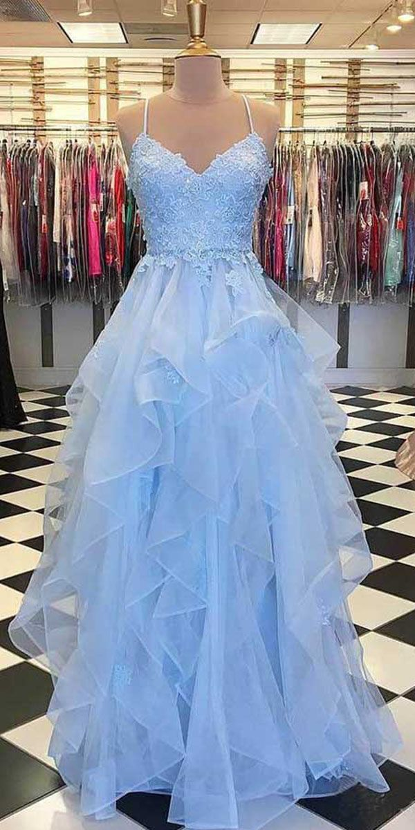 SKY BLUE RUFFLE SKIRT PROM DRESSES SPAGHETTI STRAP JUNIOR PROM DRESS PG889 #tulle #promdresses #eveningdress #skyblue #bluepromdresses