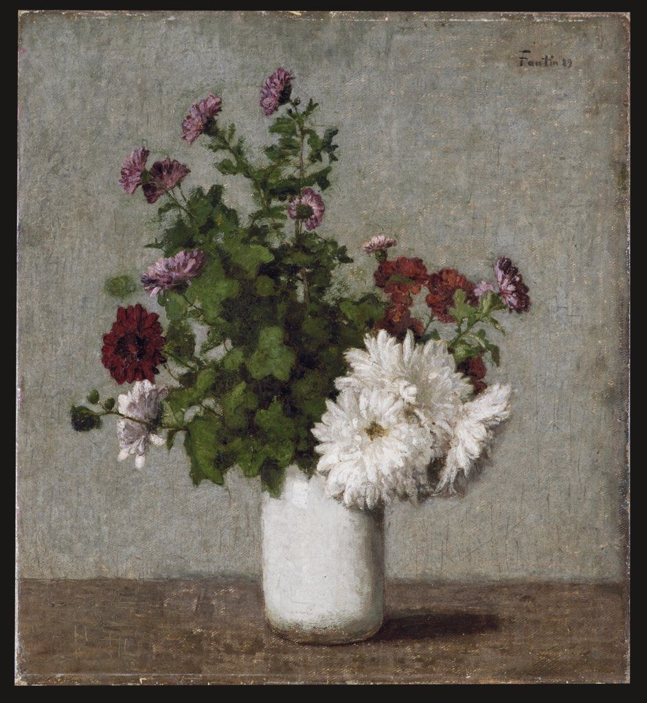 Flower Still Life Autumn Chrysanthemums In A White Vase By Henri Fantin Latour From The Digital Collection Of The Stadel Flower Painting Flowers Chrysanthemum