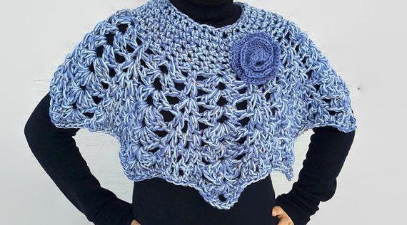Crochet Capelet Poncho, Lacy Poncho,Crochet Cowl , Crochet Cape ...