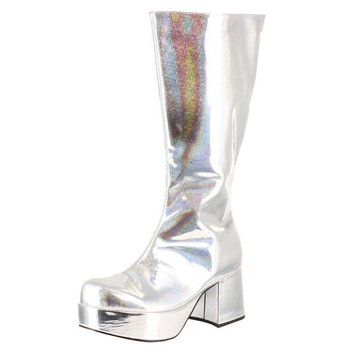 b65e4ce57c9 Men's Costume 3 Inch Chunky Heel Knee High Platform Boots Silver ...