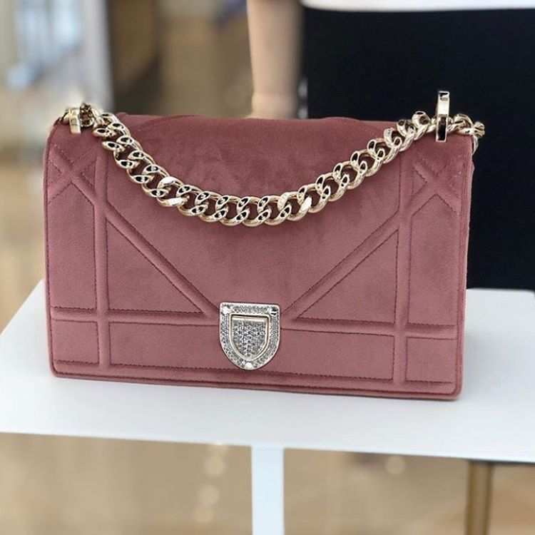 13820635bd0 This blush pink velvet Diorama bag by @dior has quickly made it to ...