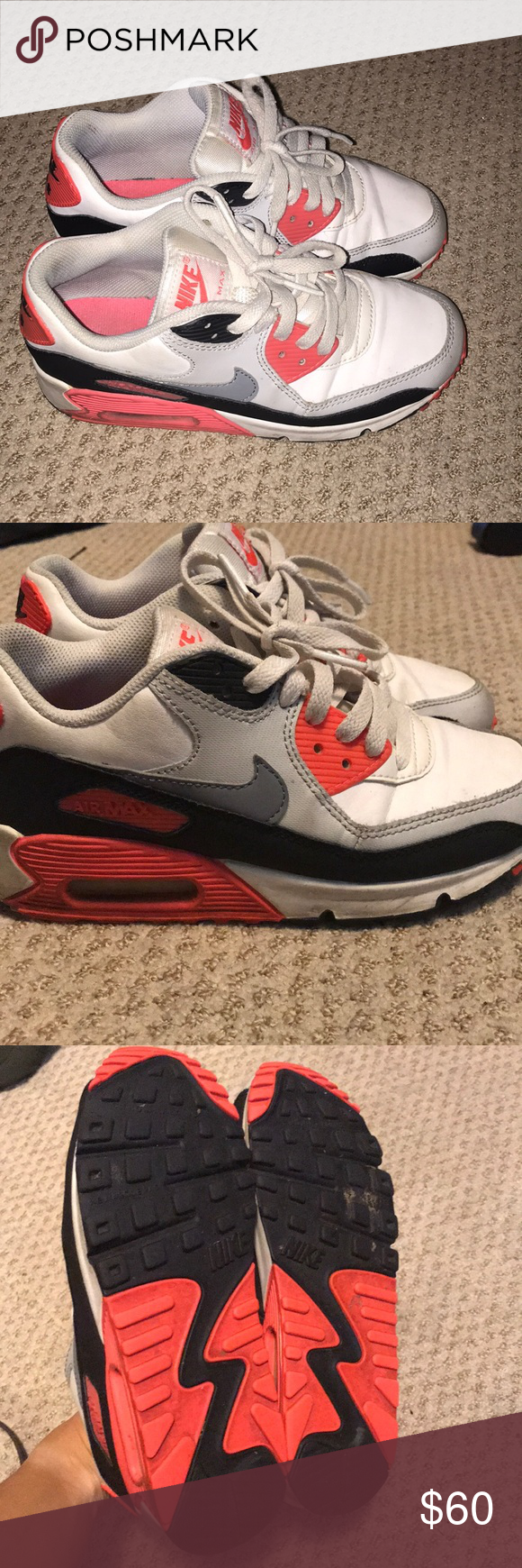 lowest price 75563 f0976 Nike air max 90 infrared youth size 4 The originals! Hard to find these  days. 4 youth   5.5 women s Nike Shoes Sneakers