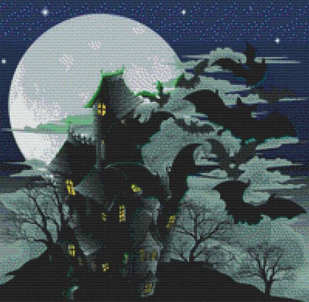 Haunted House and Bats Cross Stitch Pattern