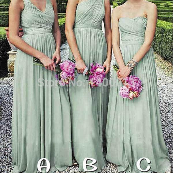 Grey Chiffon Bridesmaid Dress Sage