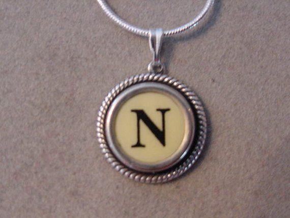 fd1667ceca936 Typewriter key jewelry necklace CREAM LETTER N Typewriter Key ...