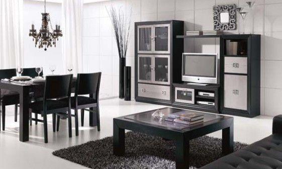 Salones MIRKO. Composición de gran distinción por sus frentes plateados en lacados negros. Descubre otras posibilidades en www.mymobel.com