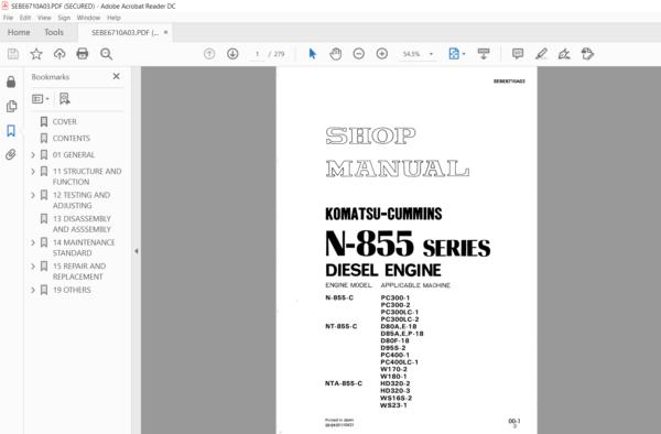 Komatsu Cummins N855 C Nt855 C Nta855 C N 855 Series Diesel Engine Shop Manual Pdf Download Cummins Diesel Engine Komatsu