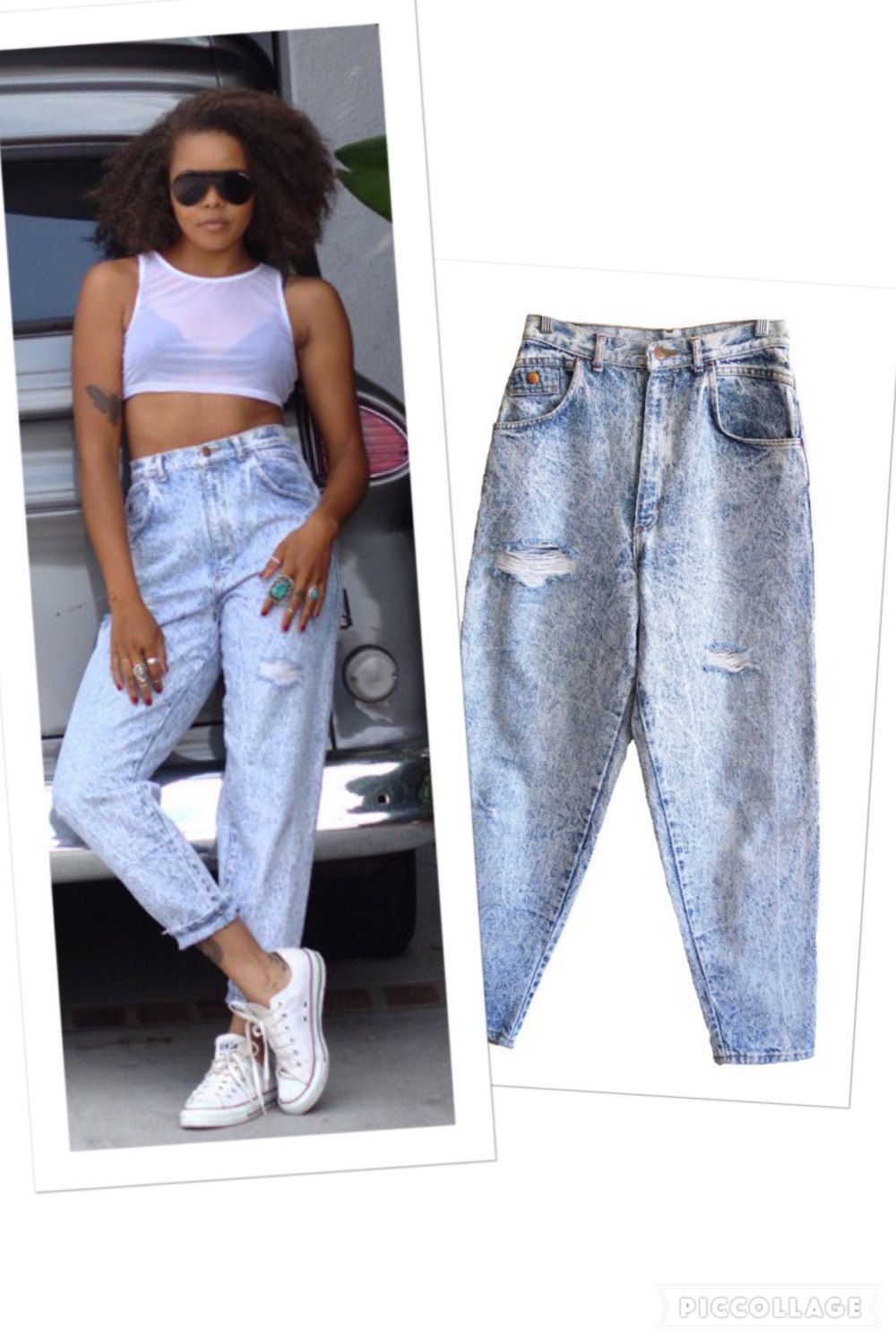 c956f67a1d4f5 Vintage mens womens light denim acid wash baggy 80s 80 s ripped jeans lots  of detail tag less soft red x s pockets classic fit high waisted by ...