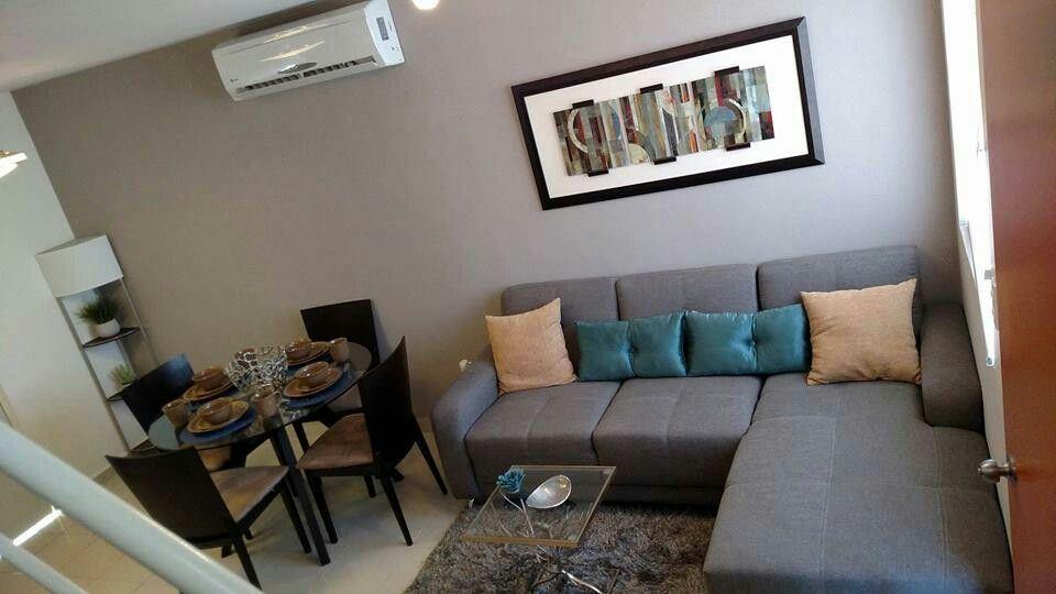 Pin de pauliina romo en home pinterest hogar peque os for Salas espacios pequenos