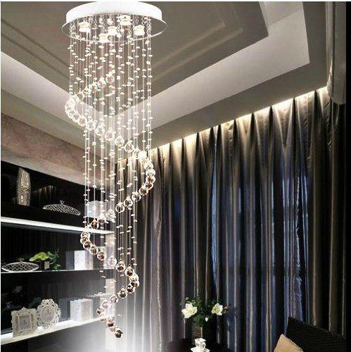 Nilight 150cm Spiral Crystal Pendant Lamp Ceiling Light Rain Drop Chandelier