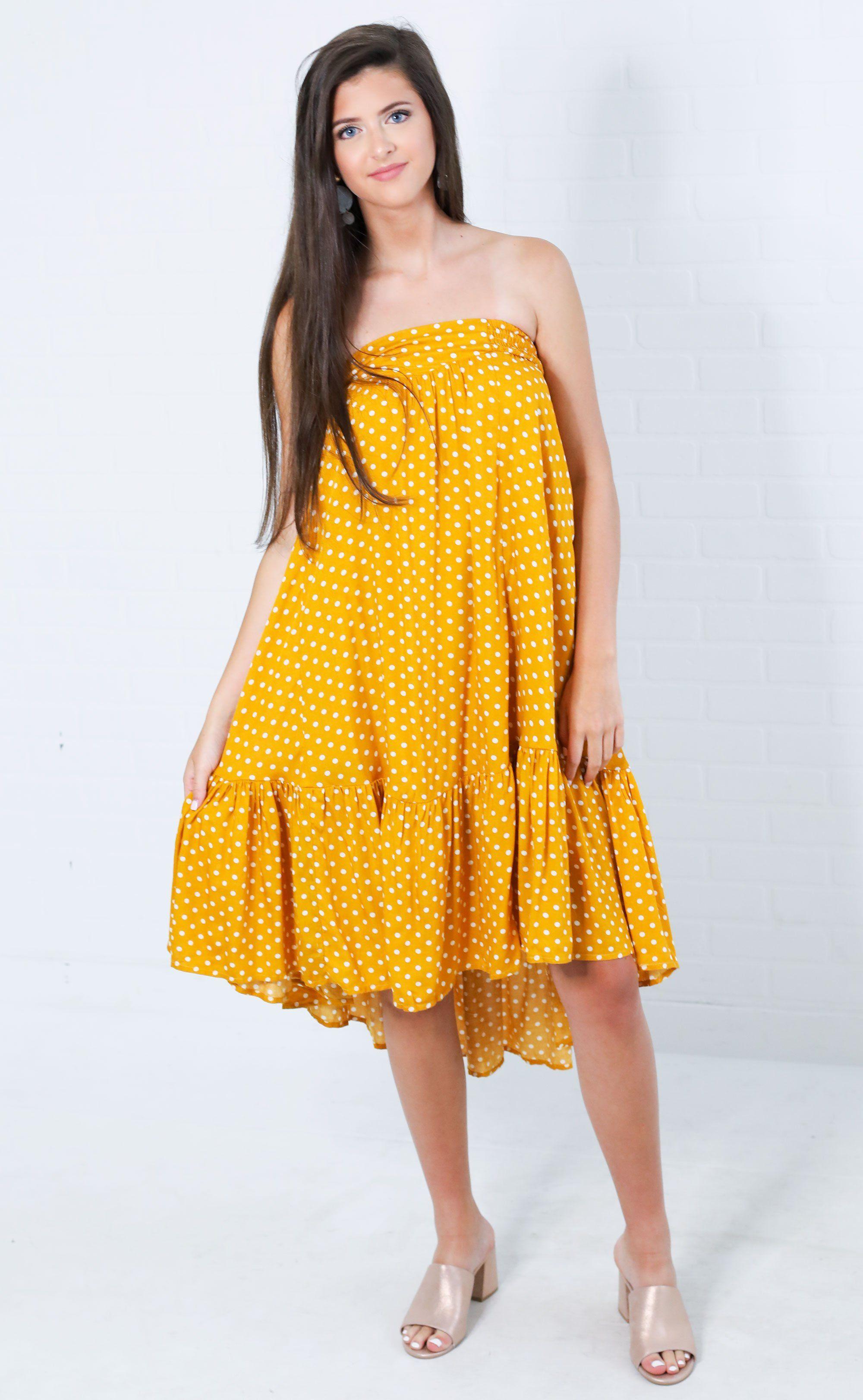 7b2e5cdd51 Time to twirl strapless dress - mustard