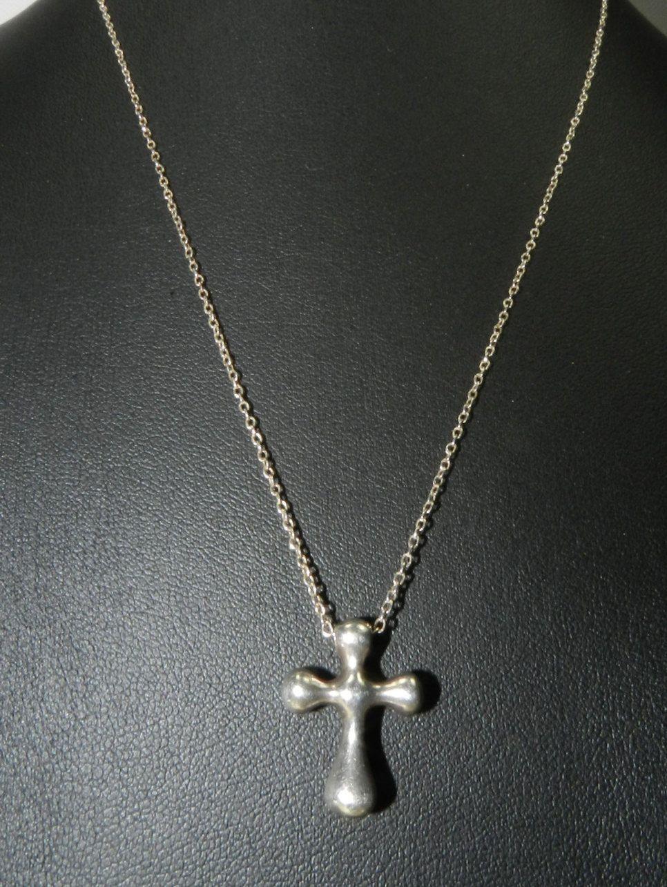 f4f139ff76d18 Authentic TIFFANY & CO Sterling Silver Elsa Peretti Cross Pendant ...