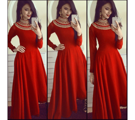 Rayon Embroidery Semi,Stitched Ethnic Gown (Red)