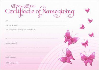 Naming Certificate - Pink Butterflies design.   Naming Day ...