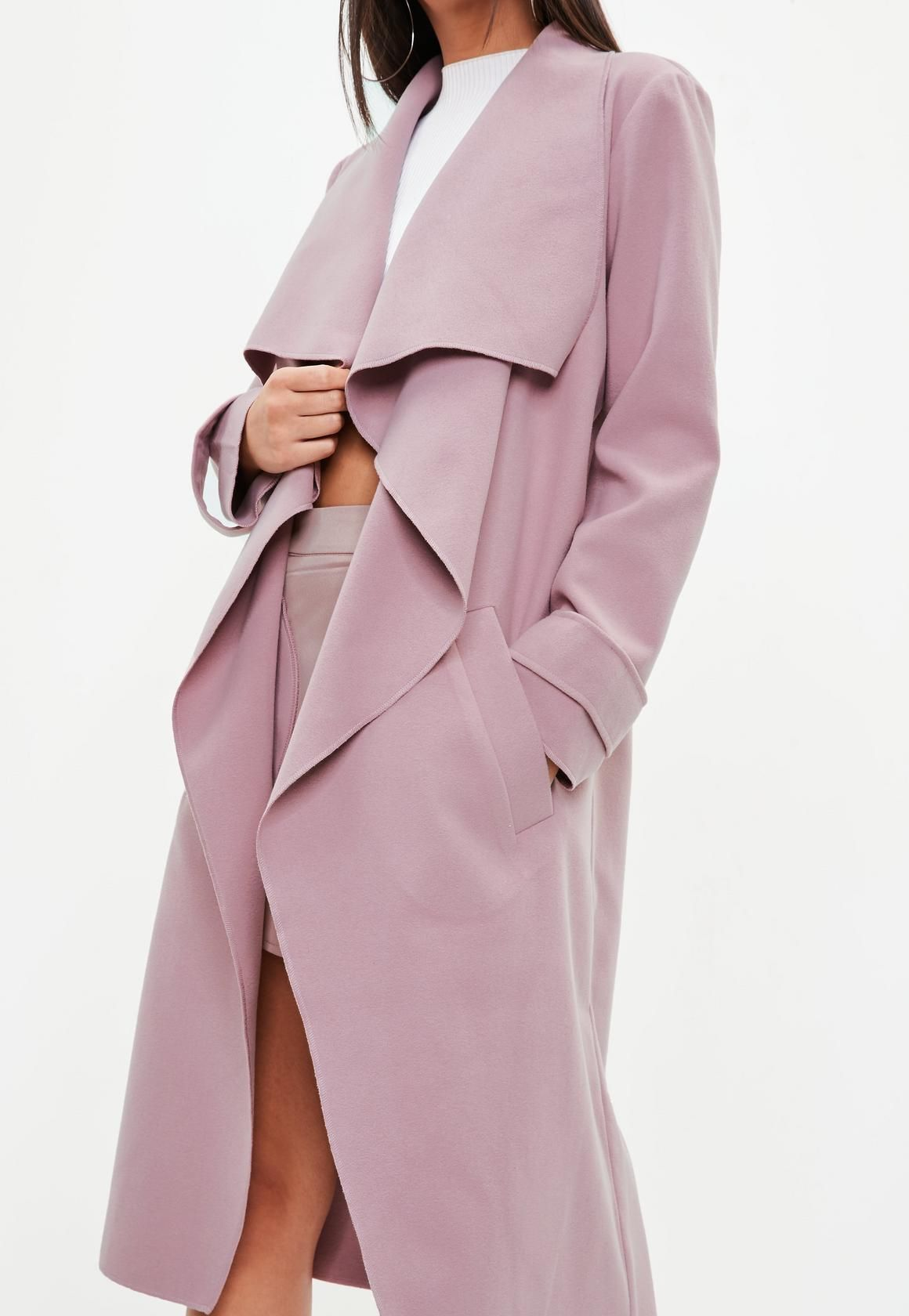 ed0f5235b07e7 Missguided - Mauve Oversized Waterfall Duster Coat | Fashion in 2019 ...