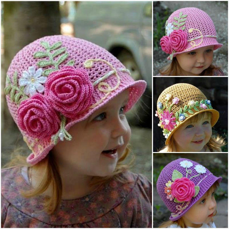 crochet-girls-vintage-hat-with-rose (1) | Tricot | Pinterest