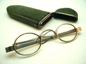 ANTIQUE C1810 GEORGIAN GREEN SHAGREEN ETUI, SPECTACLES CASE & SILVER EYEGLASSES