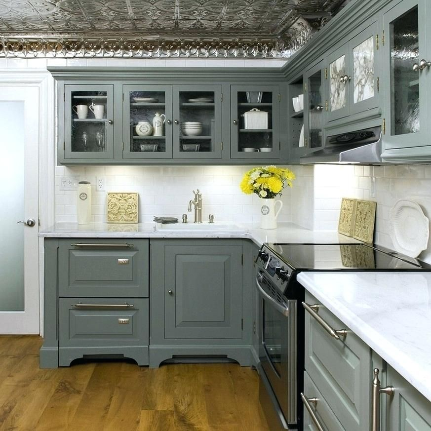 gray green painted kitchen cabinets nice gray color ...