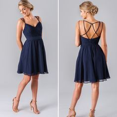 Find a Cheap Short Dark Navy Blue Bridesmaid Dress Spaghetti Straps Tulle Bridesmaid Dresses Under 100 Short Bridesmaid Gowns Online Shop For U ! #navyblueshortdress