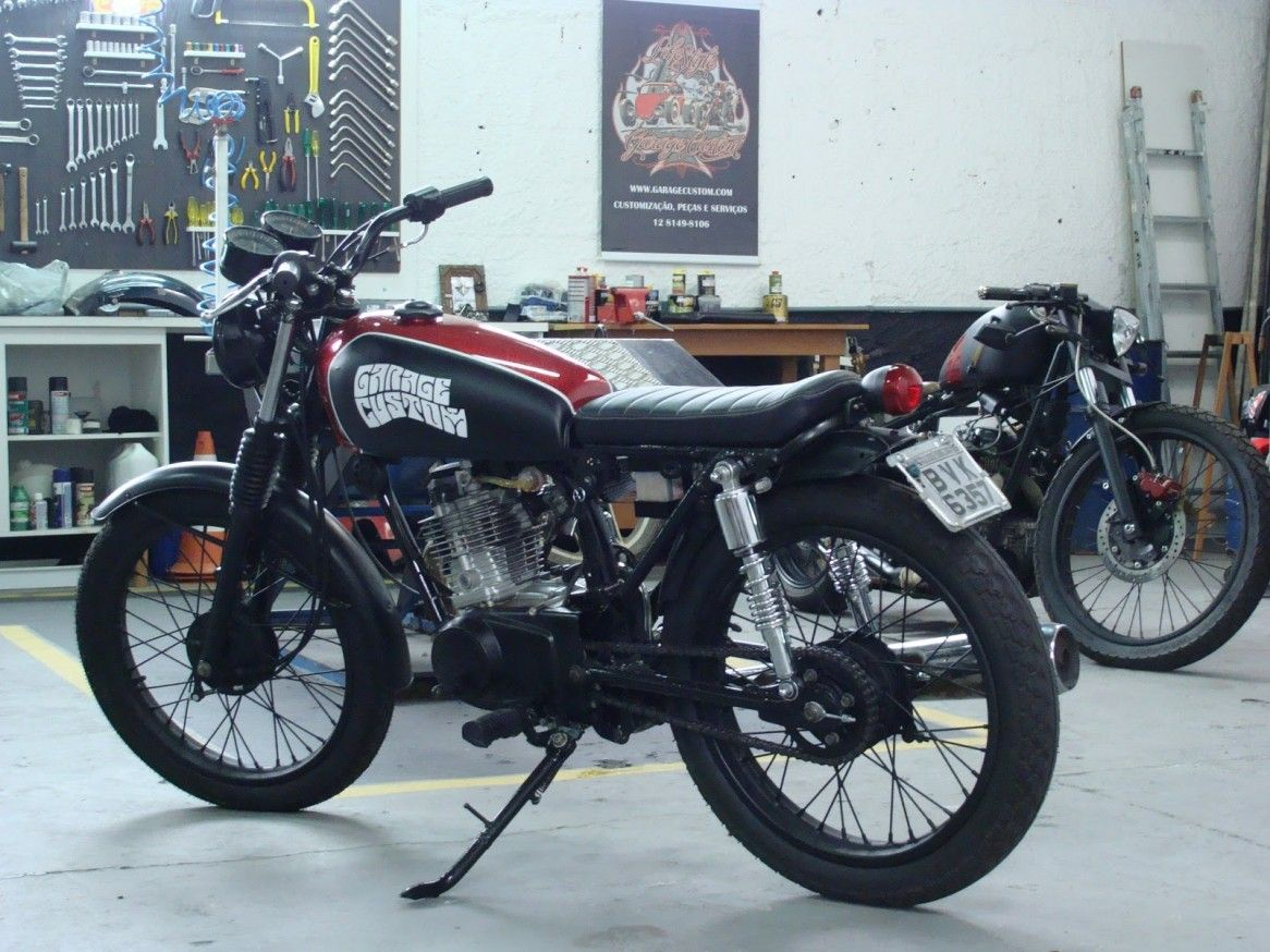 Custom cool modified motorbikes with honda cg125 parts cool black flat tracker honda cg125