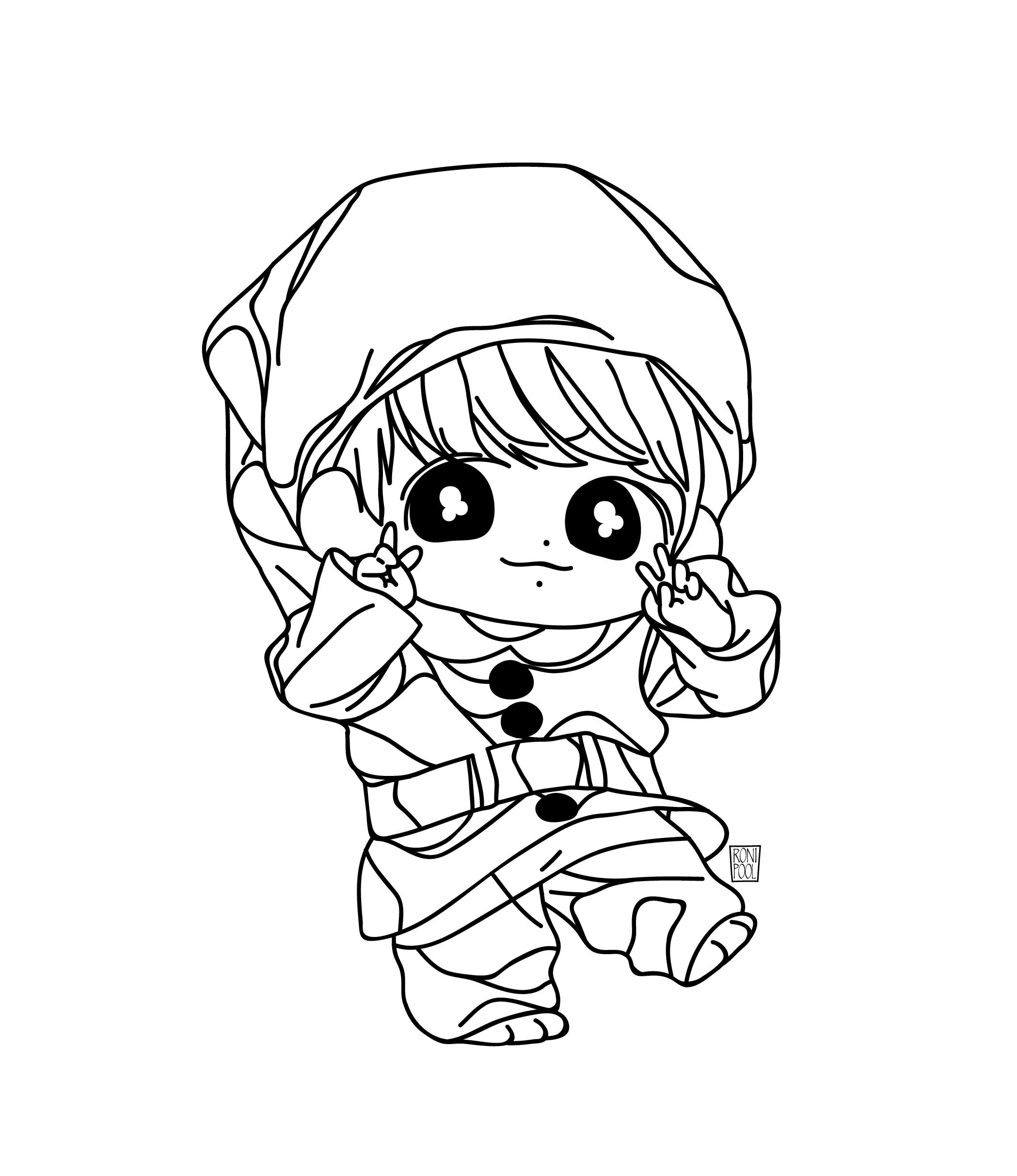 Bts Fanart Jungkook Chibi Speed Drawing Roni Pool Bts Fanart Line Art Drawings Drawings